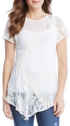 Women's Karen Kane Multi Lace Panel Top $138 thestylecure.com