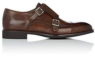 di Bianco Men's Cap-Toe Leather Double-Monk-Strap Shoes - Lt. brown