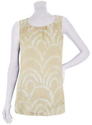 Susan Graver Printed Woven Sleeveless Top with Detail at Neck