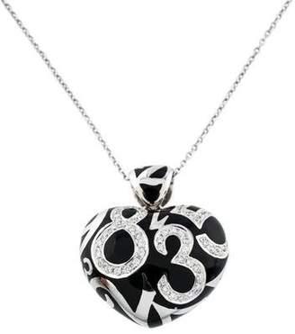 Franck Muller 18K Diamond & Enamel Crazy Hours Heart Pendant Necklace
