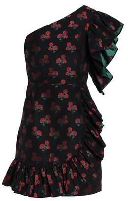 Sandro Asymmetric Ruffled Floral-Jacquard Mini Dress