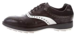 Prada Leather Semi Pointed-Toe Oxfords