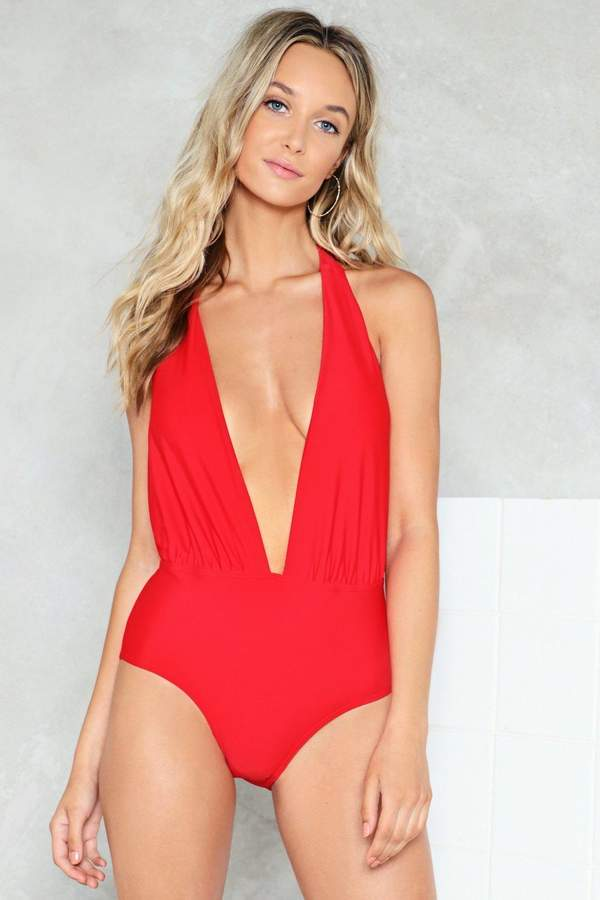 nastygal Theme From the Deep Plunging Swimsuit