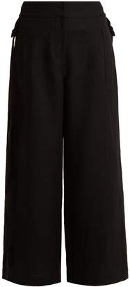 Loewe High-rise wide-leg cropped linen trousers