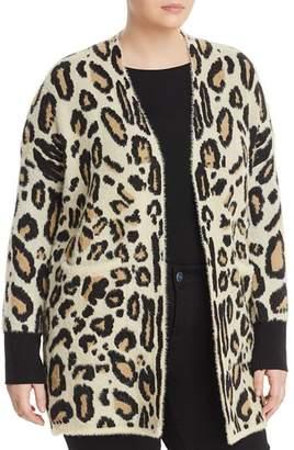 Vince Camuto Plus Textured Leopard Print Cardigan