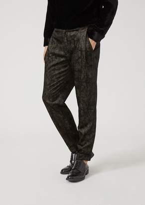 Emporio Armani Trousers In Iridescent Birdseye Fabric