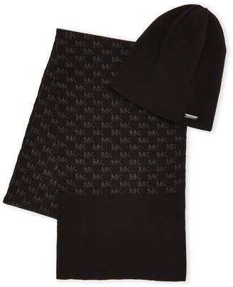 Michael Kors Midnight Blue & Charcoal Scarf & Reversible Knit Beanie Set