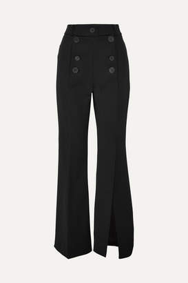 Awake Button-embellished Crepe Flared Pants - Black