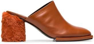 Reike Nen brown 80 leather faux fur heel pumps