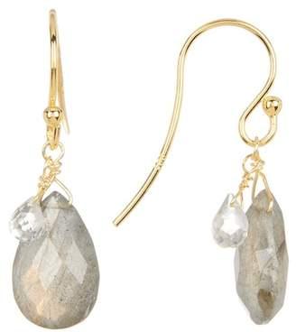 Candela 18K Yellow Gold Plated Sterling Silver Briolette Labradorite & Quartz Teardrop Earrings