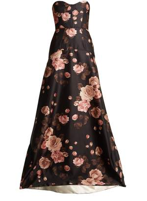 Rochas Rose-print bustier satin gown
