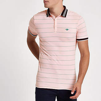River Island Mens Pink stripe muscle fit polo shirt