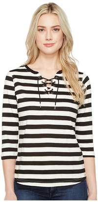 FDJ French Dressing Jeans Stripe Jacquard 3/4 Sleeve Top Women's Long Sleeve Pullover