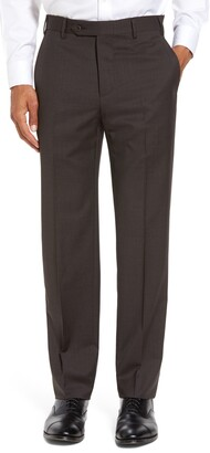 Zanella Devon Flat Front Classic Fit Solid Wool Serge Trousers