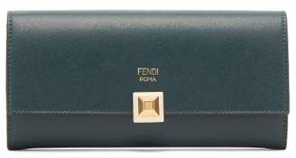 Fendi - Stud Clasp Continental Leather Wallet - Womens - Dark Green