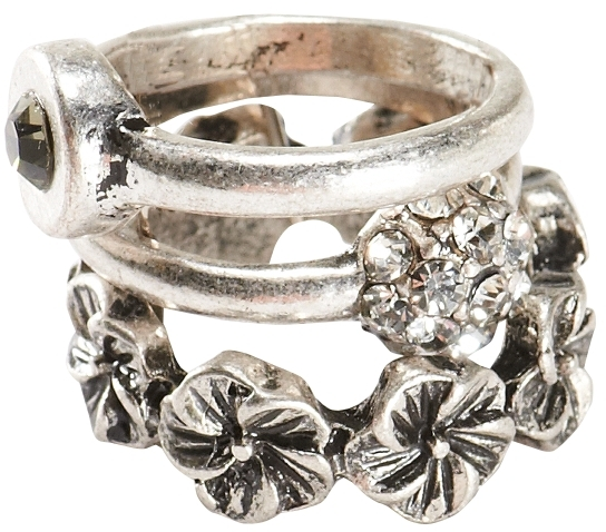 Aeropostale Fireball & Floral Ring 3-Pack
