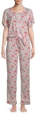 Catherine Malandrino Two-Piece Floral-Print Pajama Set