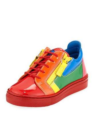 Giuseppe Zanotti Rainbow Patent Leather Low-Top Sneakers, Toddler/Kids