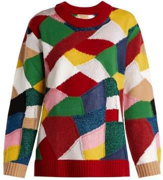 Burberry Patchwork Cashmere And Wool Blend Sweater - Womens - Red