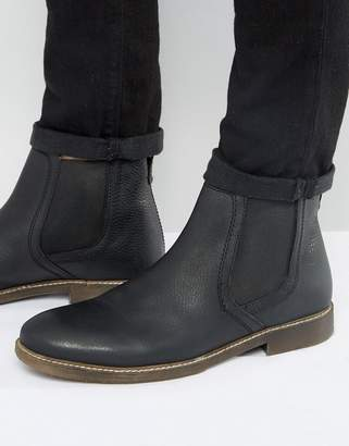 Red Tape Chelsea Boots In Black Leather