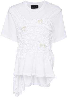 Simone Rocha Pearl-embellished gathered T-shirt