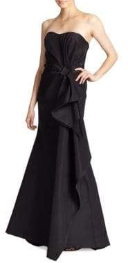 Carolina Herrera Silk Falle Draped Gown