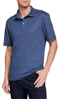Ermenegildo Zegna Men's Linen Polo Shirt
