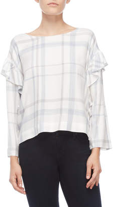 Vince Camuto Petite Plaid Ruffled Long Sleeve Top