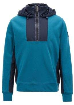 BOSS Hugo Hooded sweatshirt in French terry & technical fabric M Open Blue