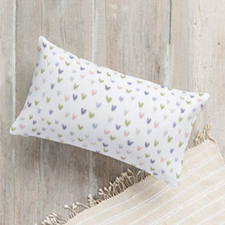 Watercolor Hearts Lumbar Pillow