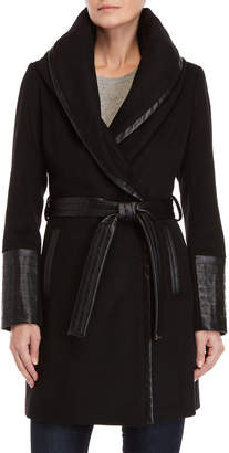 Via Spiga Wool Faux Leather-Trimmed Belted Coat