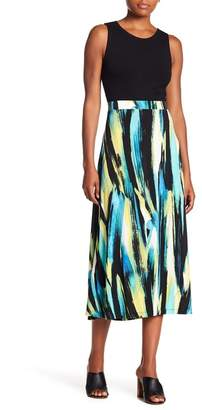 Kasper Cabana Patterned Midi Skirt