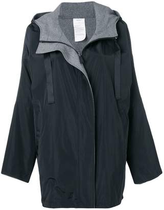 Donna Karan reversible logo hooded coat