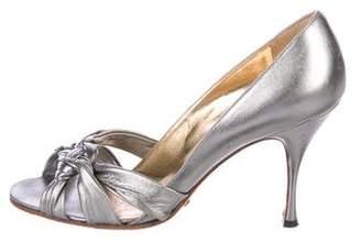 Dolce & Gabbana Metallic Peep-Toe Pumps