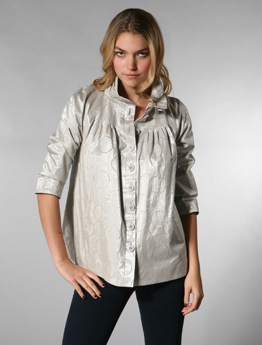 Catherine Malandrino High Neck Jacquard Jacket in Silver