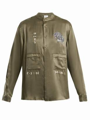 MHI Tiger-embroidery silk shirt