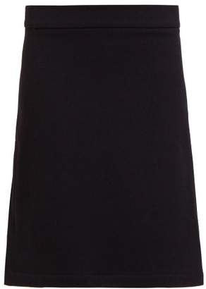 Raey Split Side Wool Blend Twill A Line Skirt - Womens - Navy
