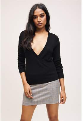 Dynamite Knitted Wrap Front Sweater Jet Black