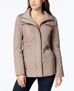 Cole Haan Faux-Leather-Trim Quilted Anorak Coat
