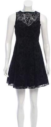 Alice + Olivia Velvet-Accented Lace Dress