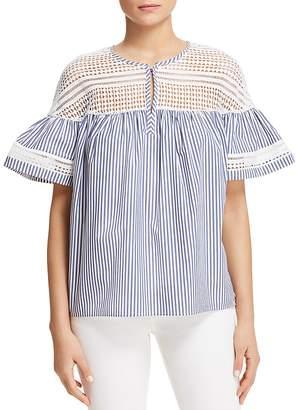 Scotch & Soda Crochet Stripe Bell Sleeve Top