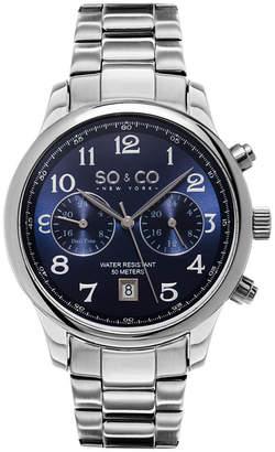 Co SO & NY Mens Monticello Stainless Steel Bracelet Blue Dial Dress Quartz Dual Time Watch J154P55