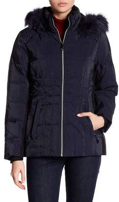 Gerry Julia Shimmer Faux Fur Trim Down Jacket