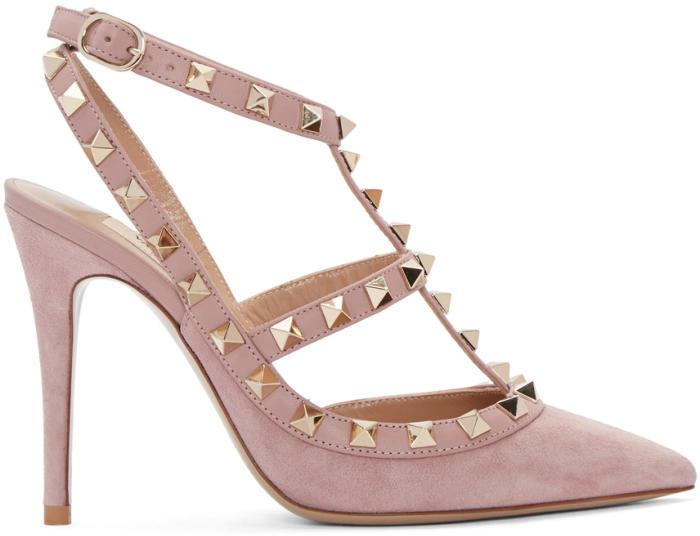Valentino Pink Valentino Garavani Suede Rockstud Cage Heels