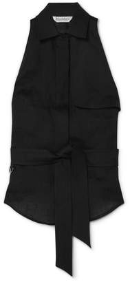 Max Mara Tie-detailed Linen Top - Black