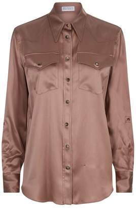 Brunello Cucinelli Satin Point Collar Shirt