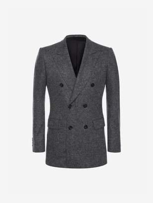 Alexander McQueen Double Breasted Cashmere Tweed Jacket