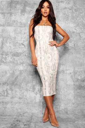 boohoo Snake Print Bandeau Fitted Midi Dress
