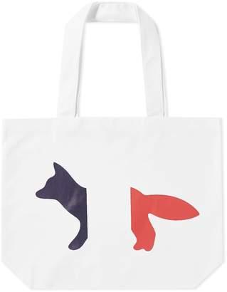 MAISON KITSUNÉ Tricolour Fox Tote Bag