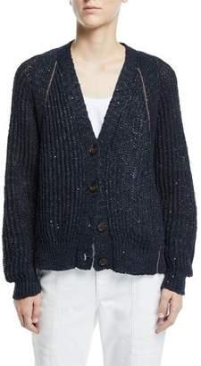 Brunello Cucinelli Shimmered Linen-Silk Ribbed Cardigan